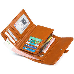 Women Vintage Three Fold Short Leather Wallets Card Holders