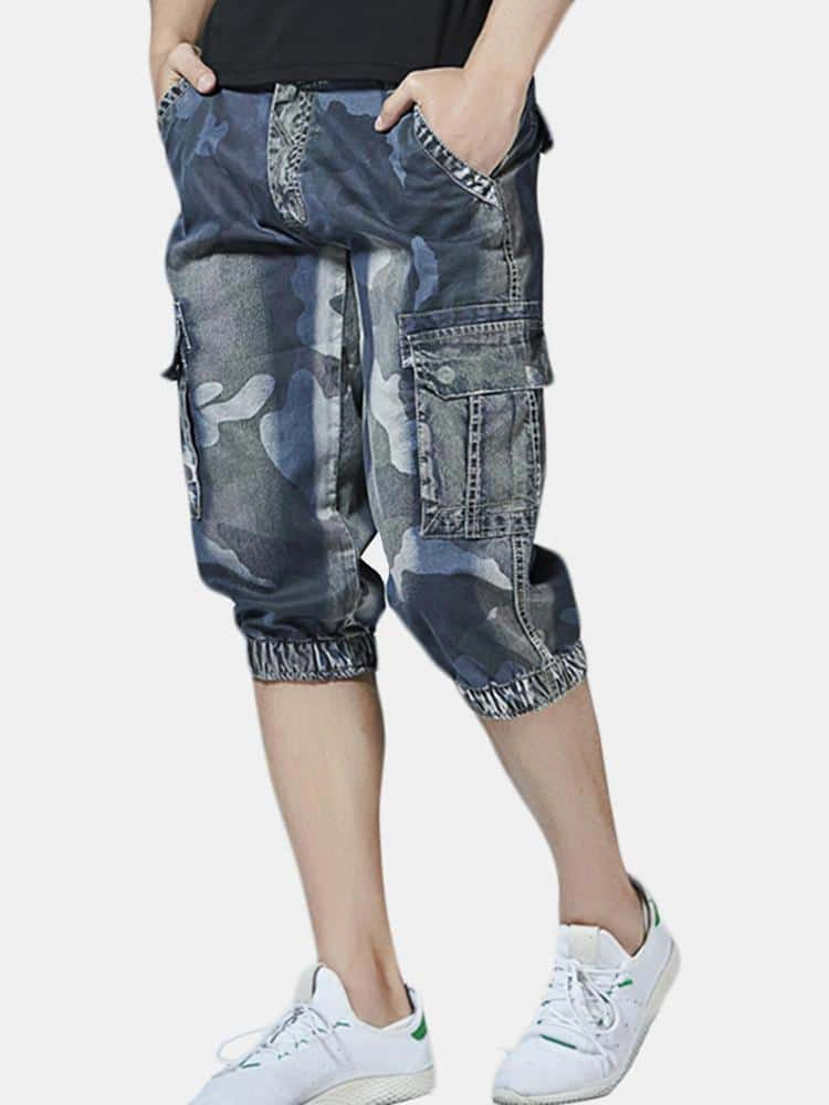 Casual Camo Multi Pockets Jogger Pants Short Jeans - EY Shopping