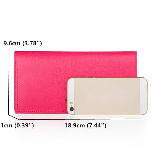 Women Candy Color Long Wallets Casual Purse Card Holder Coin Bags