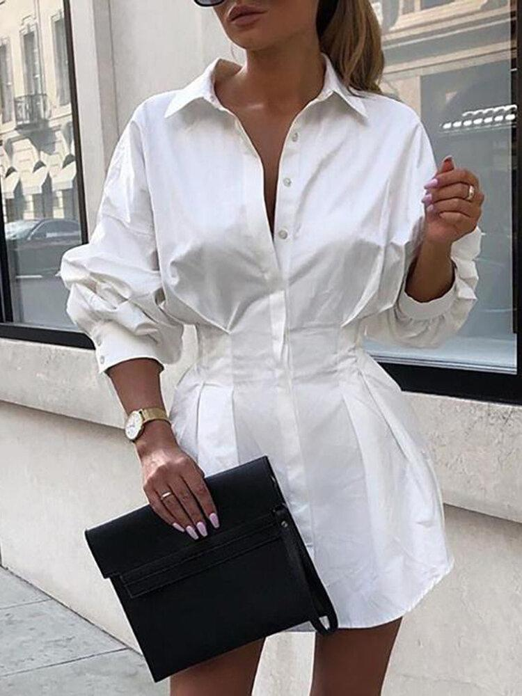 Women Solid Lapel Long Sleeves Tie Waist Casual Shirt Dress - EY Shopping