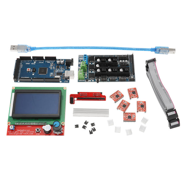 LCD 12864  Display + Mega2560 R3 + Upgrade Ramps 1.6 Base On Ramps1.5 Control Mainboard Kit with 5Pcs A4988 Driver for Reprap 3D Printer