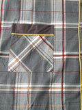 Mens 100% Cotton Plaid Print Double Pockets Long Sleeve Loose Fit Home Pajamas - EY Shopping
