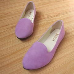 US Size 5-11 Women Flats Comfortable Casual Slip On Pointed Toe Suede Flat Loafers Shoes - EY Shopping
