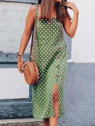 Casual Women Polka Dot Print Sleeveless Straps Maxi Dress - EY Shopping