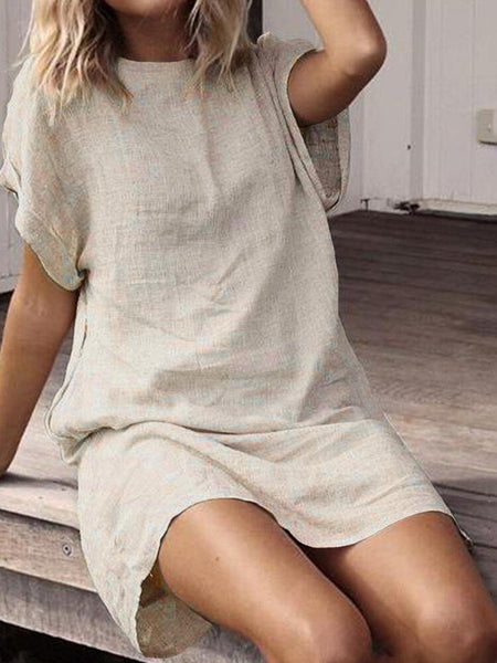 Women Short Sleeve Cotton Long Shirt Loose Solid Mini Dress - EY Shopping