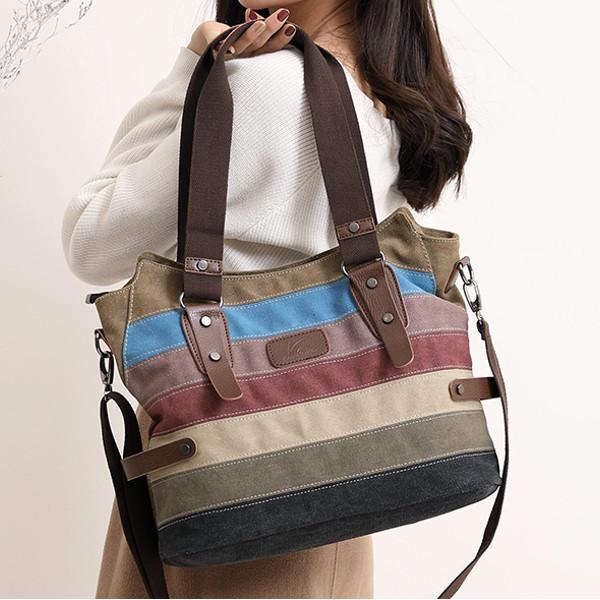 KVKY Women Canvas Stripe Handbags Vintage Contrast Color Shoulder Bags - EY Shopping