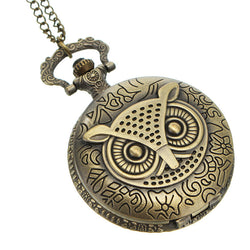 DEFFRUN XHB02 Fashion Bronze Pocket Watch Owl Pattern Necklace Vintage Chain Quartz Watch