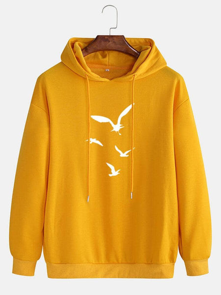 Cotton Mens Casual Bird Printed Dropped Shoulder Drawstring Long Sleeve Hoodies - EY Shopping