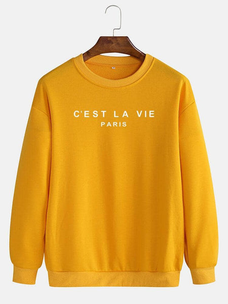 Cotton Mens Simple Slogan Print Round Neck Pullover Long Sleeve Casual Sweatshirts - EY Shopping