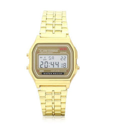 Men Fashion Digital Rectangle Dial Alarm Chronograph Alloy Band Sport Watch