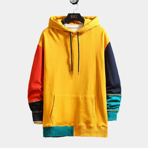 Fashion Patchwork Drawstring Hooded Pullover Casual Sweatshirt - EY Shopping