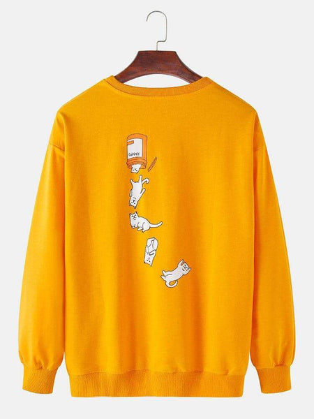 Funny Cat Print Round Neck Long Sleeve Casual Sweatshirts - EY Shopping