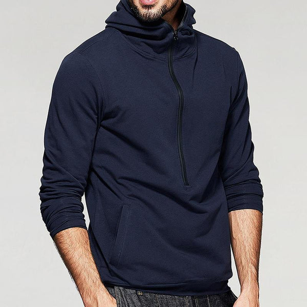 Men's Fashion Zipper Collar Hooded Solid Color Long Sleeve Casual Overhead Sweatshirt - EY Shopping