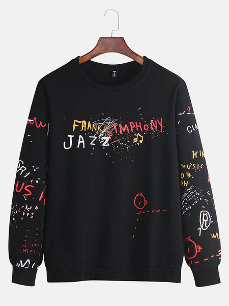 Men's New Fashion Graffiti Pullover Letter Printing Large Size Trend Casual Sweatshirt - EY Shopping