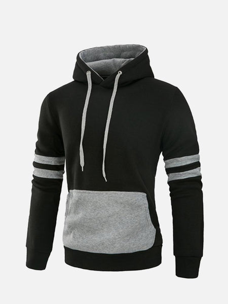 Mens Casual Cotton Hoodies Stylish Stiching Color Front Big Pocket Sport Hooded Sweatshirt - EY Shopping