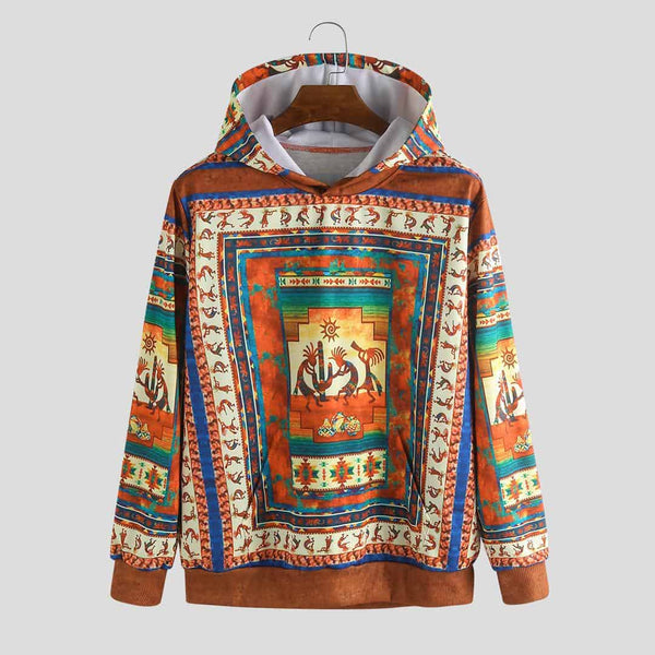 Mens Character Ethnic Printed Insert Pocket Hooded Sweatshirt - EY Shopping