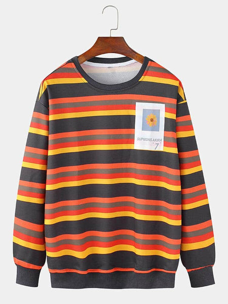 Mens Cotton Colorful Horizontal Stripes Graphic Chest Print Cotton Fit Pullover Sweatshirts - EY Shopping