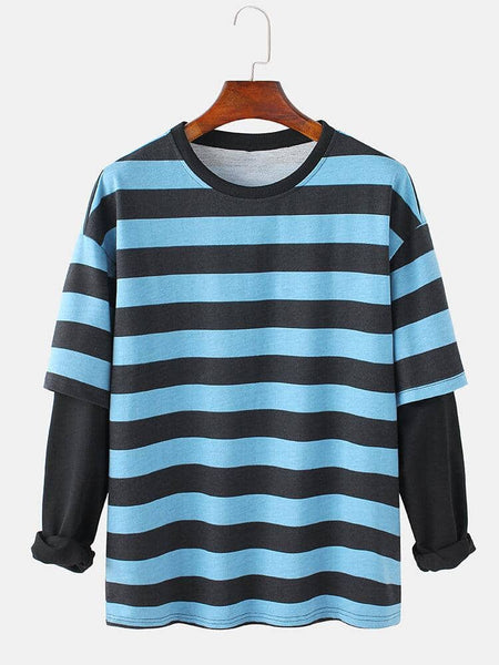 Mens Cotton Horizontal Stripes Patchwork Doctor Sleeves Crew Neck Pullover Sweatshirts - EY Shopping