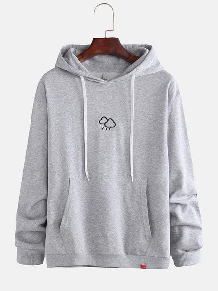 Mens Cute Embroidery Plain Pocket Long Sleeve Comfy Drawstring Casual Hoodies Sweaters - EY Shopping