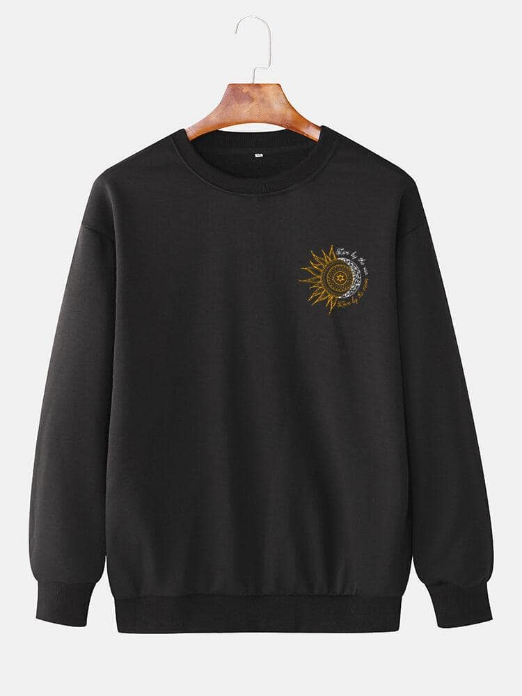 Mens Design Sun Totem Cotton Simple Long Sleeve Pullover Sweatshirts - EY Shopping