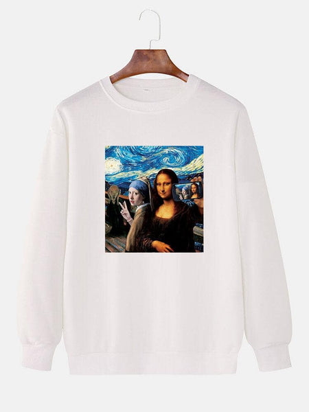 Mens Famous Painting Print Round Neck Drop Shoulders Long Sleeve Cotton Sweatshirts - EY Shopping