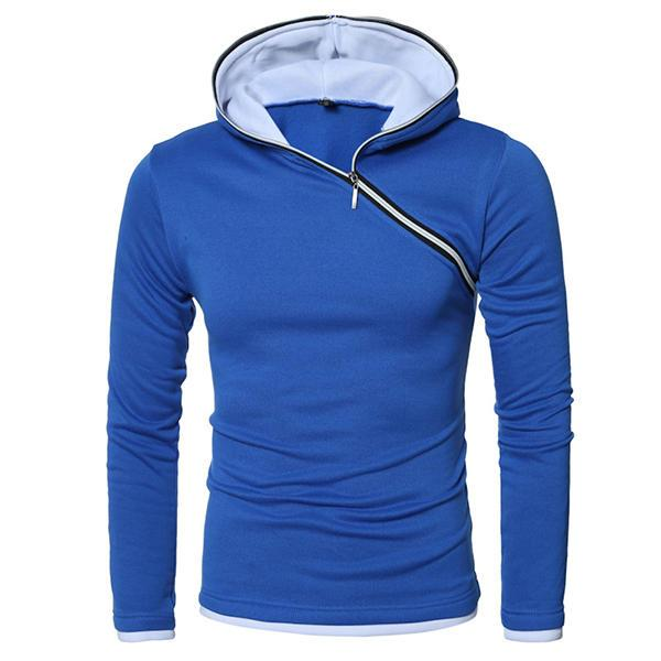 Mens Hit Color Side Zipper Slim Fit Casual Sport Hooded Sweatshirt - EY Shopping
