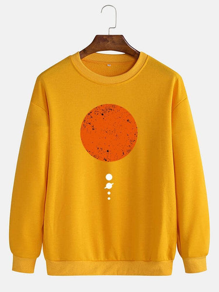 Mens Moon Print Cotton Pullover Round Neck Long Sleeve Casual Sweatshirts - EY Shopping