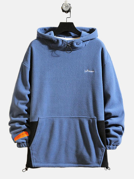 Mens Sport Hooded Thick Patchwork Long Sleeve Casual Sweatshirt - EY Shopping