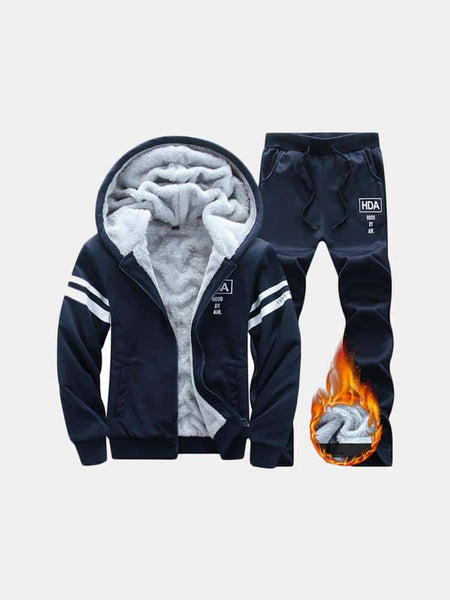 Mens Sports Set Thicken Hooded Winter Coat Sportswear Running Suit Zip Up Hoodies - EY Shopping