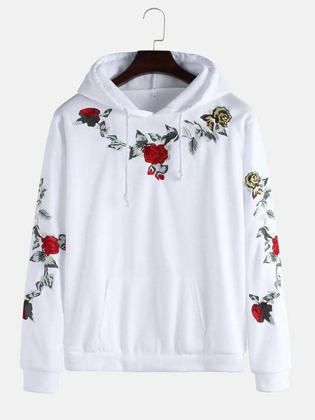 Rose Embroidery Hooded Drawstring Long Sleeve Casual Sweatshirt - EY Shopping