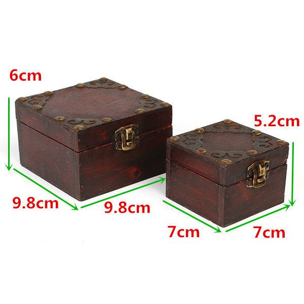 Vintage Wooden Necklace Treasure Jewelry Box Storage Case