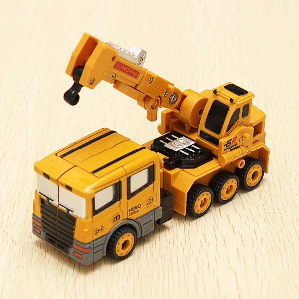 Metal Truck Hercules 5 In 1 Combination Robot Excavator Crane Vehicle Transformable Toys