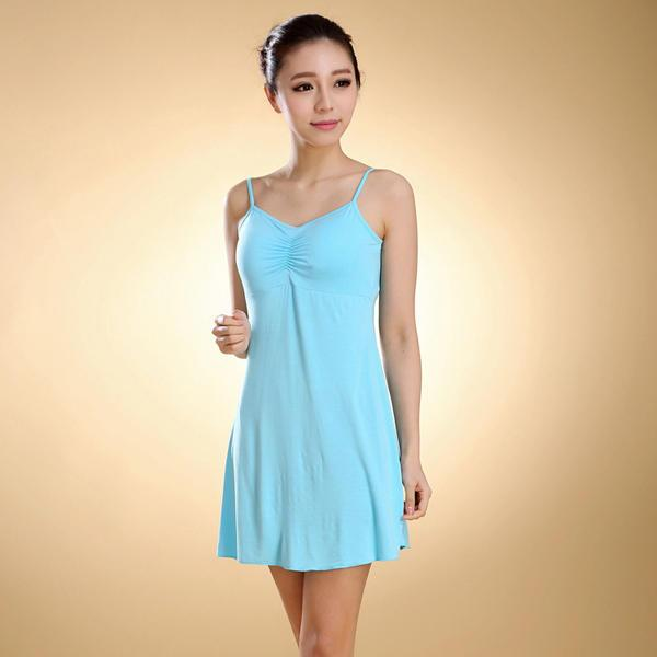 Female Modal Straps Pad Cup Vest Sleepwear Dress - EY Shopping