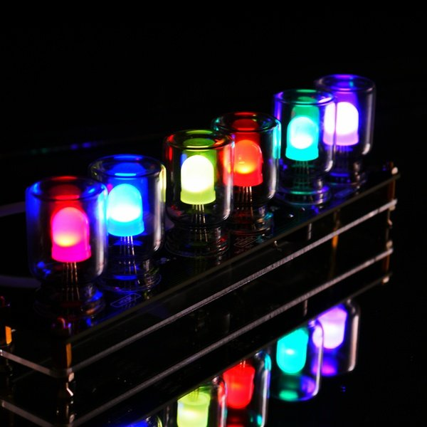 Geekcreit DIY Aurora LED Colorful Light Cube Chromatography Glass Clock Kit