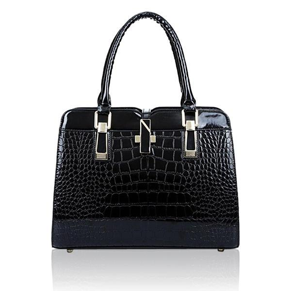 Women Crocodile Pattern Handbags Patent Leather Tote Shoulder Bags Crossbody Bags - EY Shopping