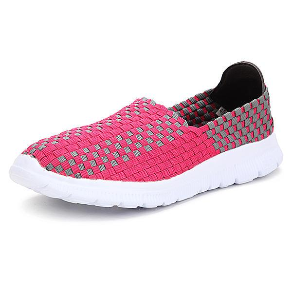New Stretch Knitting Women Casual Flat Sport Shoes - EY Shopping