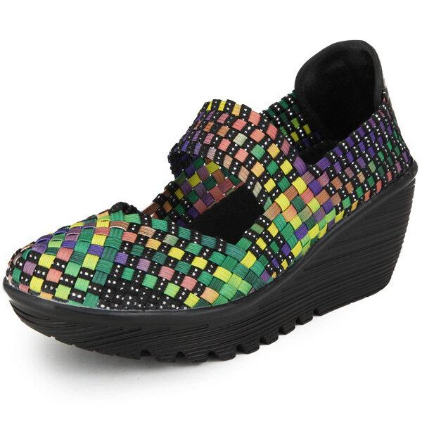 Elastic Belt Woven Swing Shoes Female Sport Sandals Shoes - EY Shopping
