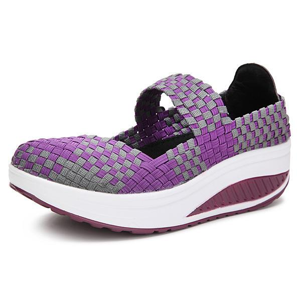 Handmade Knitted Women Platform Casual Sports Shake Shoes - EY Shopping