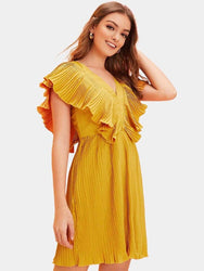 Solid Color V-neck Backless Pleated Casual Dress - EY Shopping
