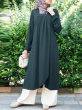 Women Solid Square Neck Pleated Long Sleeve Split Hem Kaftan Vintage Dress - EY Shopping