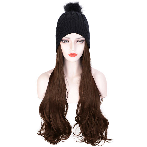 Women Cap Wig Hat Light Curly Long Synthetic Girl Hair Winter