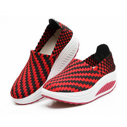 Women Leisure Platform Shoes Slip-on Knit Shake Shoes Hand knitting Sneakers - EY Shopping