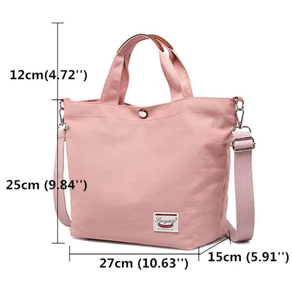 Women Canvas Tote Bag Solid Handbag Large Capacity Leisure Crossbody Bag - EY Shopping