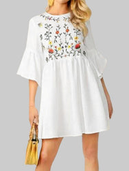 Flower Embroidery Flounce Sleeves Bohemian Mini Shirt Dress - EY Shopping
