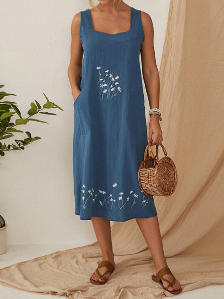 Flower Embroidery Daily Casual Dress Women Home Gardening Dress - EY Shopping