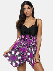 Plus Size Women Ethnic Style Print Cover Belly Bowknot Swimdress With BoyShorts - EY Shopping