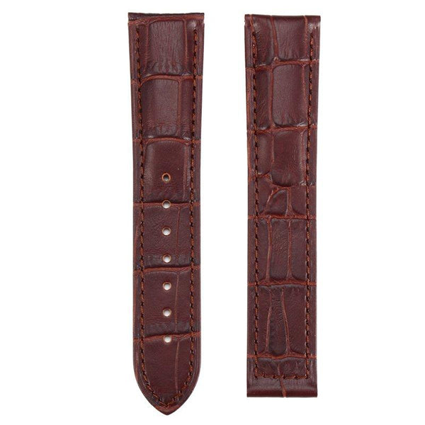 20/22mm Brown Leather Replacement Watchband With Spring Bars For OMEGA Seamaster