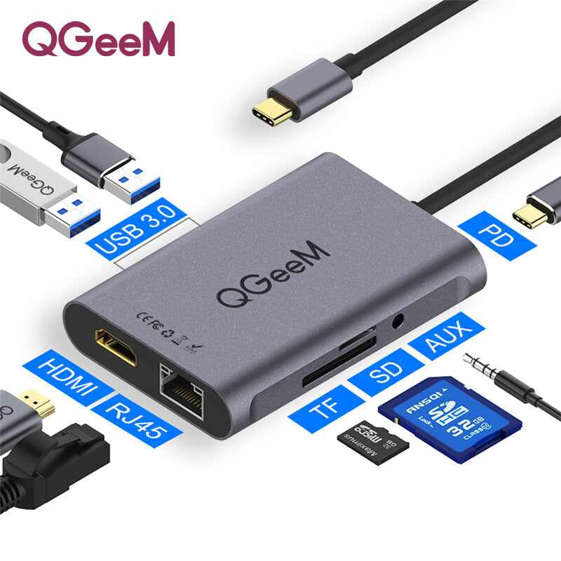 QGEEM 8-in-1 USB-C HUB Docking Station Adapter Splitter With 100W USB-C PD3.0 Power Delivery / 3.5mm AUX Audio Jack / Memory Card Readers / RJ45 Gigabit Ethernet / 4K HDMI HD Display / 2 * USB 3.0