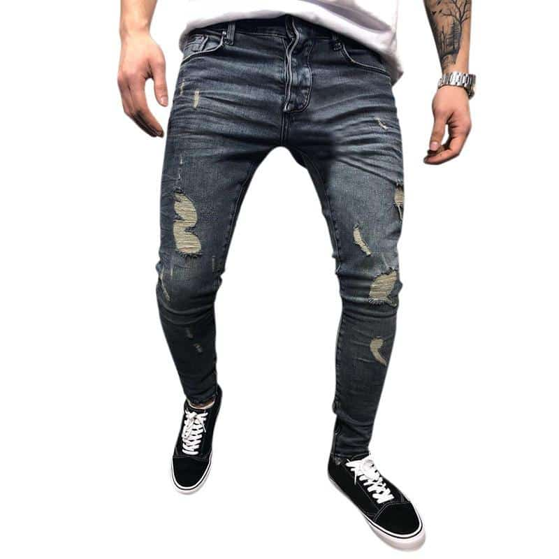 Mens Spring Autumn Denim Pants Holes Slim Fashion Mid Rise Jeans - EY Shopping