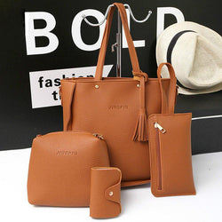 4 PCS Handbags Tassel Shoulder Bags Elegant Clutches Bags Wallets Card Holder - EY Shopping